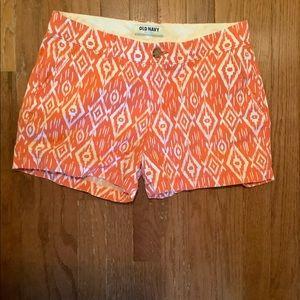 Orange and white Old Navy patterned shorts